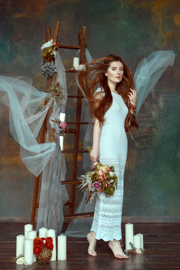 купить вязаное свадебное платье