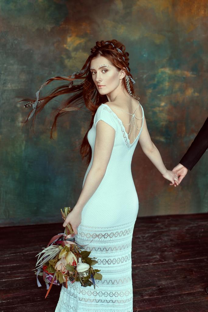длинное вязаное свадебное платье